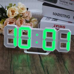 Digital LED Big 3D Alarm Snooze Desk Calendar Wall Clock 24/12H Night Light USB