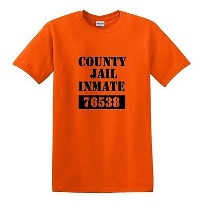 Male Inmate Halloween Costume (NEW COUNTY JAIL INMATE PRISON T-SHIRT FUNNY HALLOWEEN COSTUME TEE 100%)
