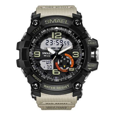 SMAEL Men's Sport Heavy Duty Military Watch Dual Display LED Waterproof Watch US
