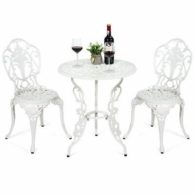 Garden Furniture - 3PCS Patio Table Chairs Furniture Bistro Set Cast Aluminum Outdoor Garden White