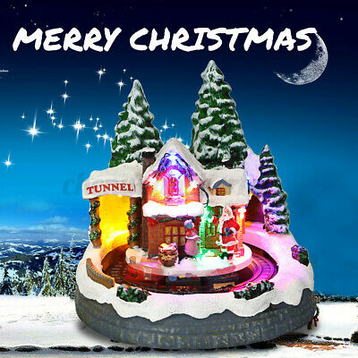 Christmas Village Scene Animated Musical LED Ornament With Moving Train