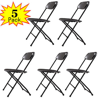 New Set of 5 Plastic Folding Chairs Wedding Party Event Chair Commercial Black