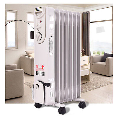 1500W Electric Oil Filled Radiator Space Heater 5 Fin Thermostat  Room Radiant