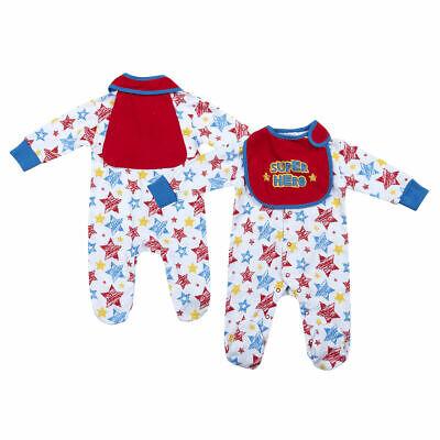 Super Hero Baby (Baby Sleepsuit 'Super Hero' With Bib Newborn to 3-6 Months)