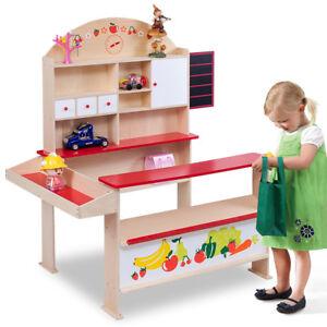 Wooden Play Shops Children Toy Shop Corner Village Supermarket Shopping Stall