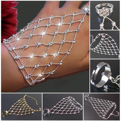 Sklavenarmband Bauchtanz Strass Armband Handkette Ring Handschmuck Orient VA35