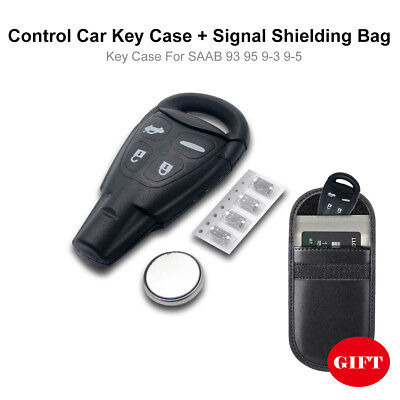 4-button Remote Control Car Key Fob Case For SAAB 93 95 9-3 9-5 (GIFT Key Bag