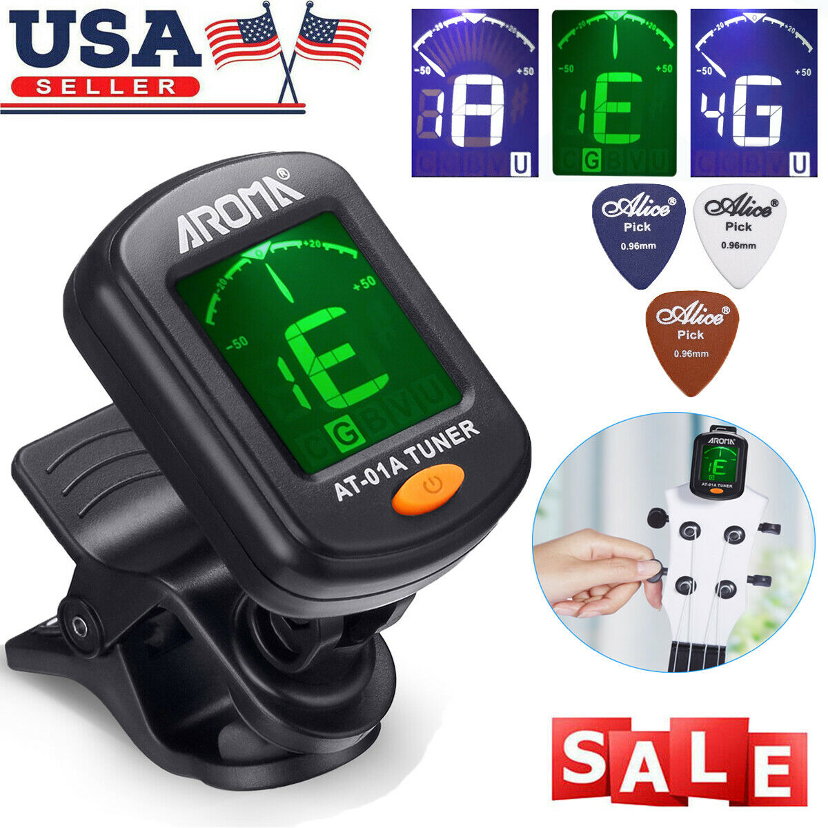 LCD Clip on Digital Chromatic Electric Tuner for Bass, Guita