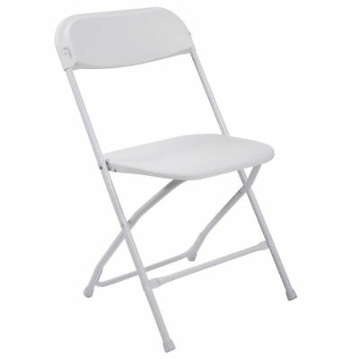 (10 PACK) Commercial Quality Stackable Plastic Folding Chairs in White Plastic
