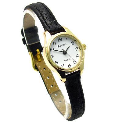 Ravel Ladies Small Neat Easy Read Quartz Watch Black Strap White Face R0124.03.2