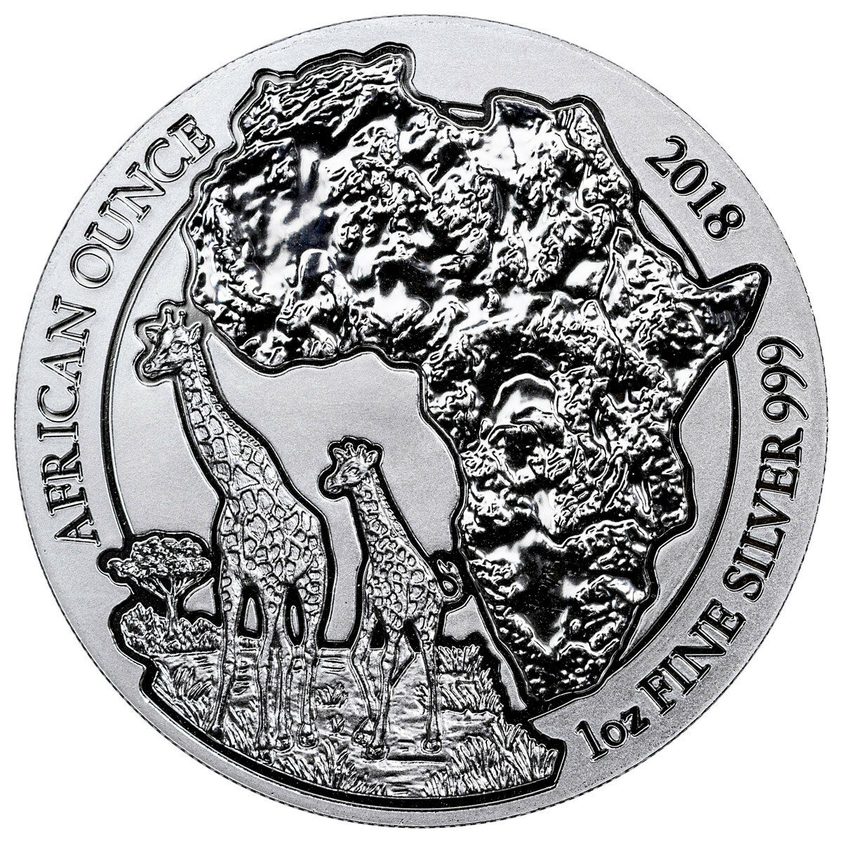 2018 Rwanda African Ounce - Giraffe 1 oz Silver Fr.50 Coin GEM BU SKU52004