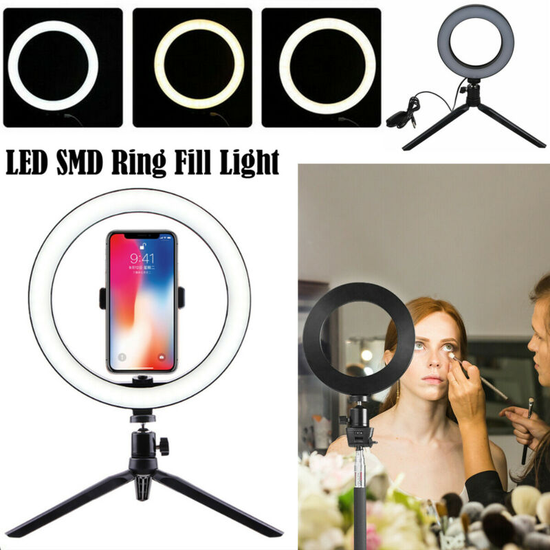 LED Ring Light Video Studio Photo Dimmable Lamp Tripod Stand Selfie Camera Phone