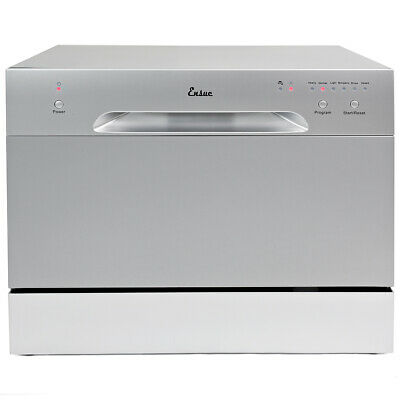 Countertop Stainless Steel Dishwasher Portable Compact w/ 6 Wash Cycles- Silver