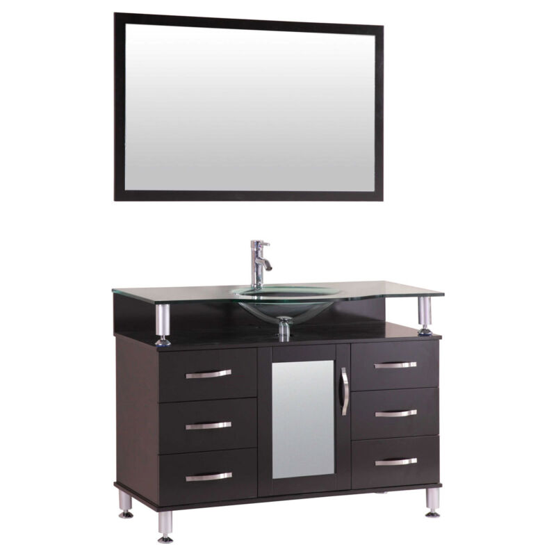 """42"""" Bathroom Vanity Cabinet with Sink Glass Top and Mirror Espresso by LessCare"""