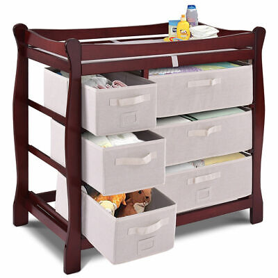 Cherry Baby Changing Table - Cherry Sleigh Style Baby Changing Table Diaper 6 Basket Drawer Storage Nursery