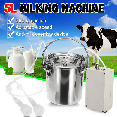 5l Electric Milking Machine Vacuum Pump Cow Milker W Double Heads Adjustable Us