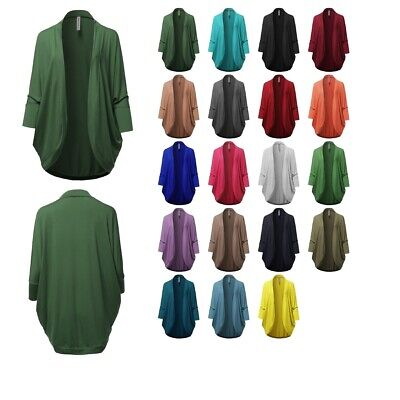 3/4 Sleeve Open Cardigan - FashionOutfit Women's Premium 3/4 Sleeve Loose Cocoon Open Front Pocket Cardigan