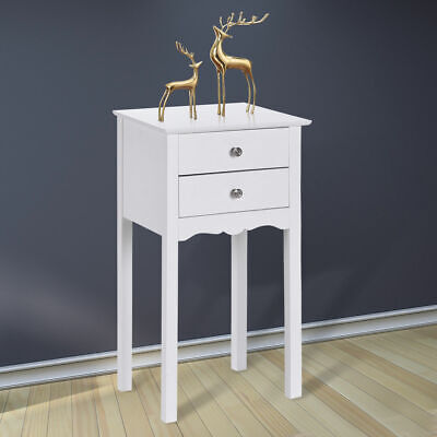 Side Table Night Stand End Accent Table W/ 2 Drawers Furniture White