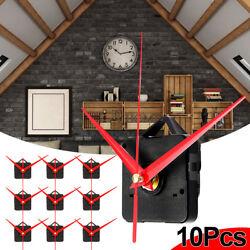 10Pcs Quartz Wall Clock Long Red Hands Movement Mechanism Repair Parts DIY Kits