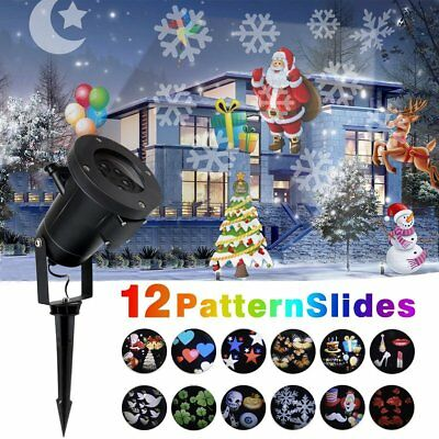 12 Patterns Outdoor Snowflake LED Laser Light Projector Landscape Garden Party](Lighted Snowflakes Outdoor)