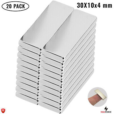 20pcs Strong 30x10x4mm Diy Office Neodymium N35 Rectangularbar Powerful Magnets
