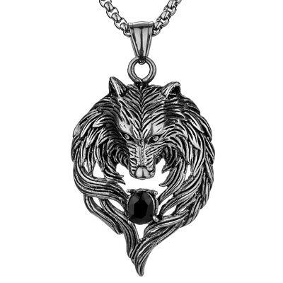 Wolf necklace pendant men women stainless steel biker jewelry gifts GN41 black - Wolf Pendant