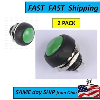 2 Pcs  Green Waterproof Momentary Push Button Mini Round Switch