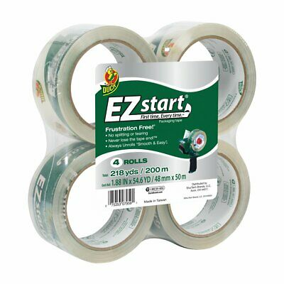Duck Brand Ez Start Packagind Tape 1.88 Inches X 54.6 Yards Clear 4 Pack 280068