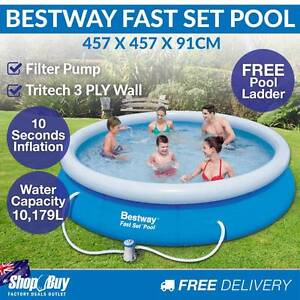 15FT Inflatable Fast Set Above Ground Swimming Pool Round Filte Sydney City Inner Sydney Preview