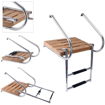 2 Step Ladder Two Rail Swim Teak Platform Inboard Boat Teak  Stainless US Ship