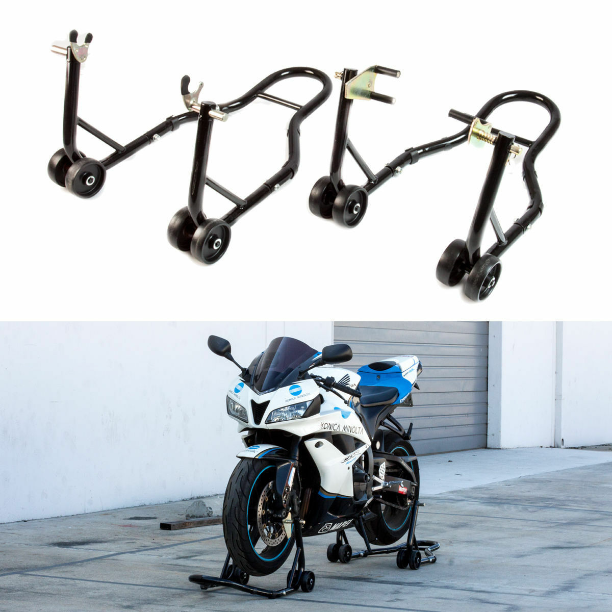 Black Motorcycle Stand Front And Rear Wheel Lift Paddock