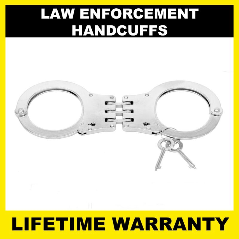 POLICE Handcuffs Professional Heavy Duty Metal Steel Hinged Double Lock - Silver