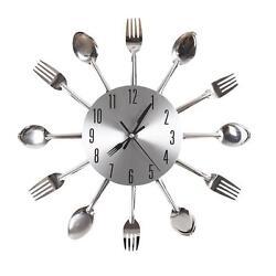 Modern Design Silver Cutlery Kitchen Utensil Wall Clock Spoon Fork Clock New