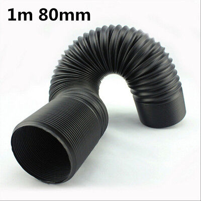 1m 80mm Black flexible cold air hose for car engines air filters induction kits