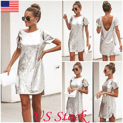 US Women Backless Sequin Glitter Twinkle Party Evening Cocktail Short Mini -