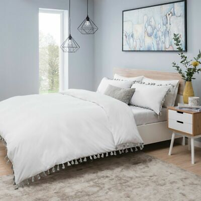 Sleepdown Tassels White And Grey Bedding Set |  Bedding Sets & Pillow Case's