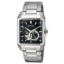 Bulova Men's Automatic Watch Black Dial Power Reserve Open Heart 96A194