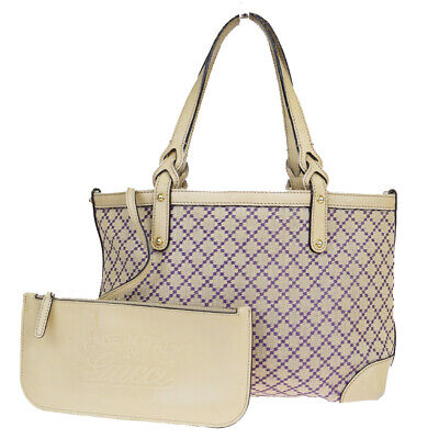 Auth Gucci GG Pattern Canvas,Leather Tote Bag Beige 01FB211
