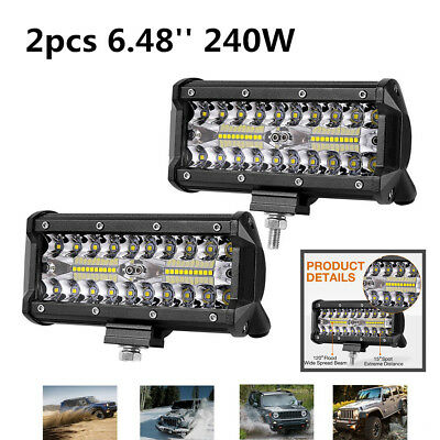 Car SUV Jeep Spot + Flood  (LED Chips) Work/Fog Light Bar 2PCS 6'' 240W 12,000LM