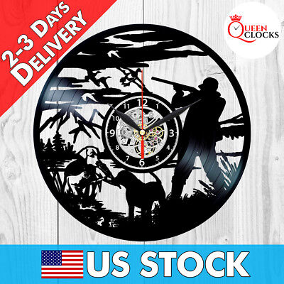 Duck Hunting Clock Cool Vinyl Record Wall Art Theme Decor Bird Hunter Gifts Dad