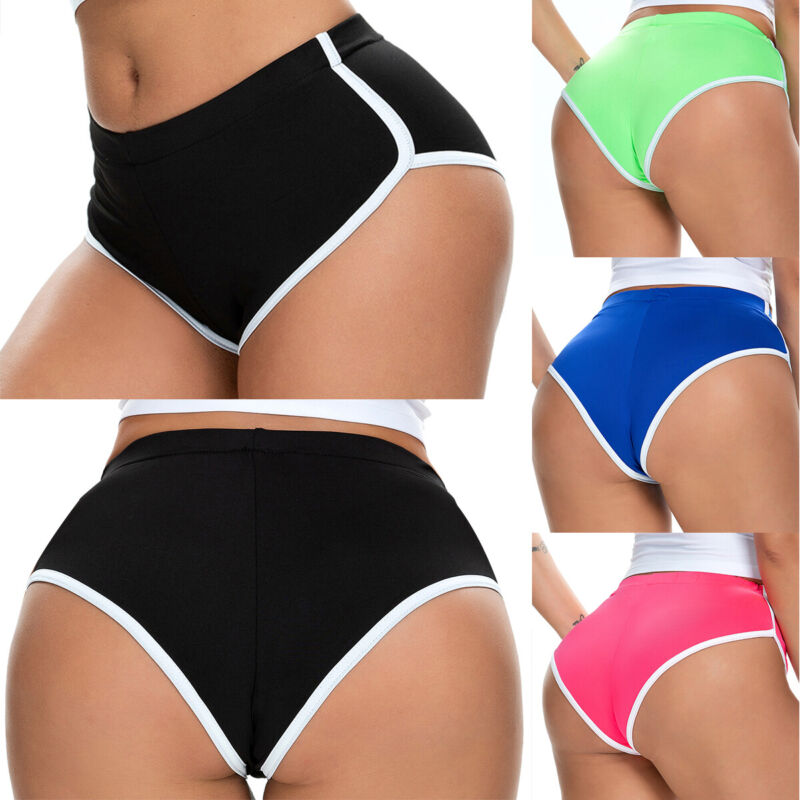 Women High Waisted Sports Shorts Ladies Wet Look Gym Run Yoga Fitness Hot Pants