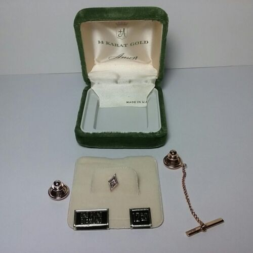 Vintage 14K Gold ANSON With Diamond Tie Tack - With 2 Clutch Backs - NEW IN BOX