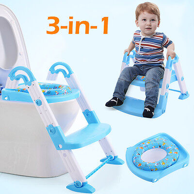 3 in 1 Baby Potty Training Toilet Chair Seat Step Ladder Trainer Toddler Blue
