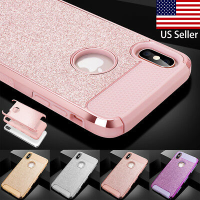 iPhone XR XS Max Glitter Bling Slim Shockproof Hard Protective Back Case Cover](Plastic Bling)