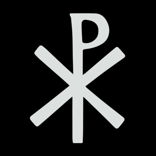 Early Christian Cross Vinyl Decal - White 6 Inch