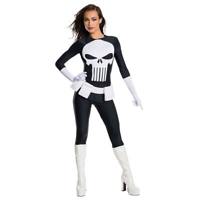 Punisher Costume Adult Female Superhero Halloween Fancy Dress Rubies Marvel (Womens Punisher Costume)