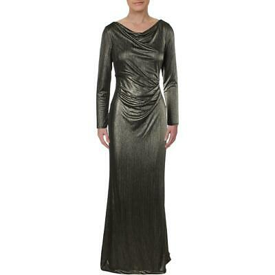 Lauren Ralph Lauren Womens Blakely Gold Metallic Evening Dress Gown 8 BHFO 5893