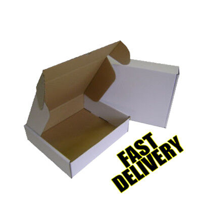 5 x ROYAL MAIL SMALL PARCEL WHITE POSTAL CARDBOARD BOXES - 419 X338X72mm