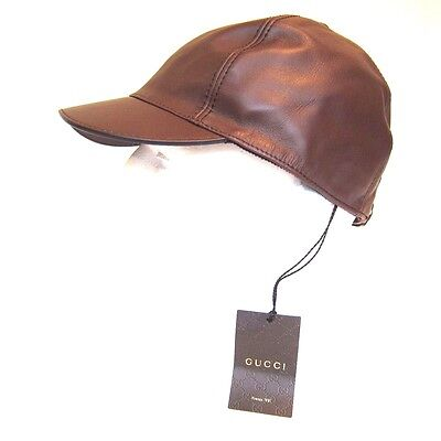 087b728fe1d B-162150 New Gucci Brown Leather Baseball Hat Cap Size Large LG