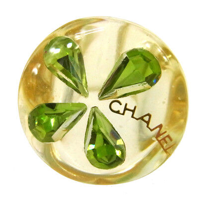 Auth CHANEL Vintage CC Logos Clover Motif Ring Plastic Clear Size 7 RK12917b